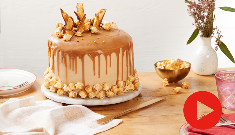 Chocolate Layer Cake with Salted Caramel Drip