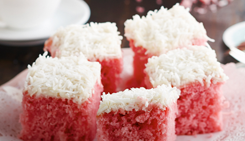 moist strawberry coconut cake